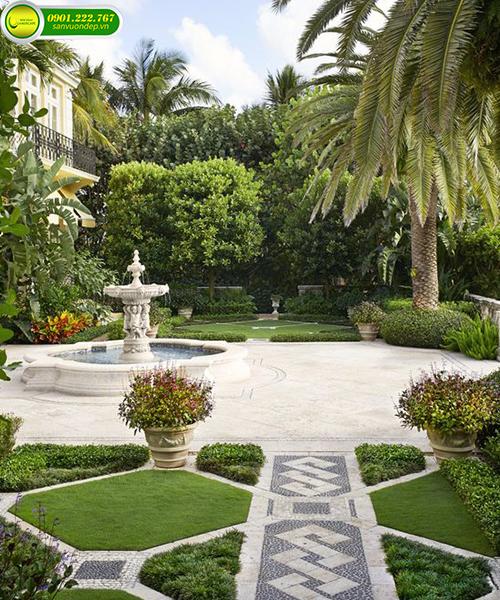 thi công sân vườn villa