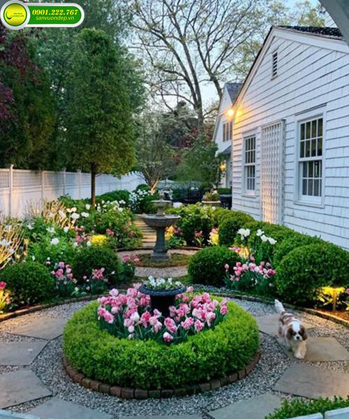 Trang trí bồn hoa trước nhà