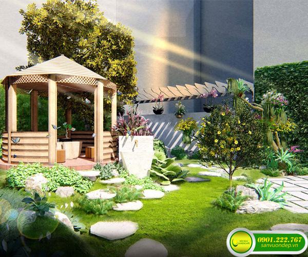 thiết kế sân vườn nhà phố
